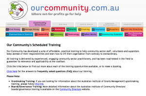 VCOSS training calendar: Our Community